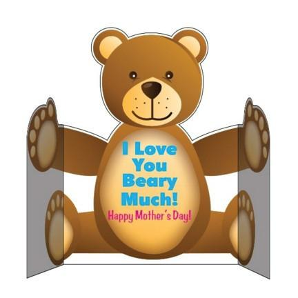 Mother's Day Bear Shaped Giant Card - Stock Design - Free Shipping