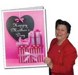 Giant Mother's Day Card - Pink with Presents - Free Shipping