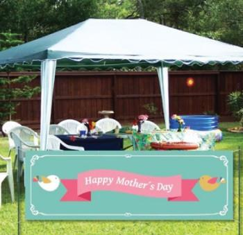 Happy Mother's Day 2'x6' Vinyl Banner-Teal Background