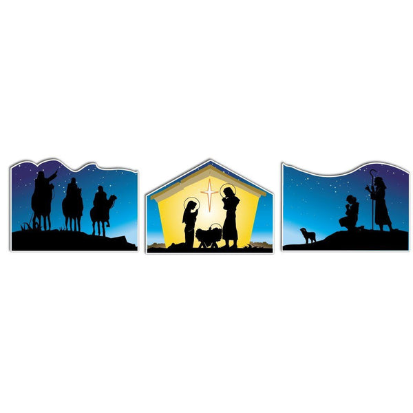 Nativity Christmas Display #2 - 3 Pieces, 9 Short Stakes
