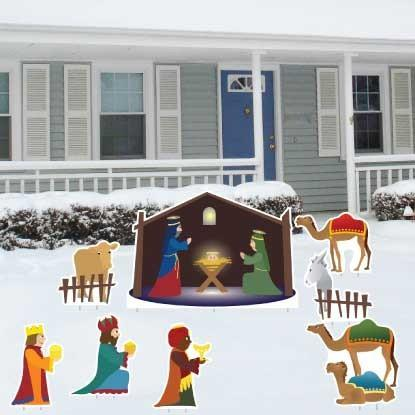 Nativity Scene 8 Piece Yard Card Set - FREE SHIPPING