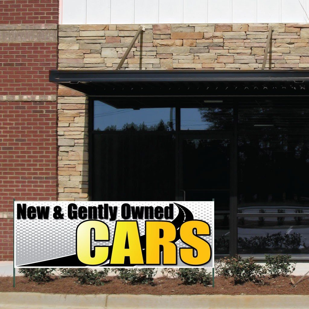 New & Gently Owned Cars Vinyl Banner with Grommets