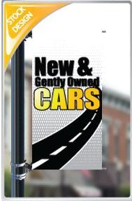 "18""x36"" New and Gently Owned Cars Pole Banner"