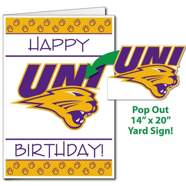 A large University of Northern Iowa birthday card