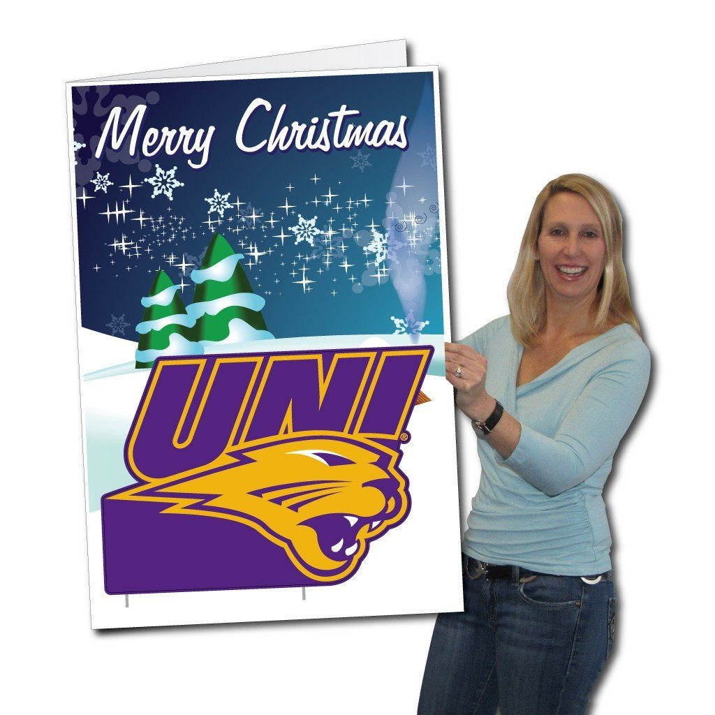 University of Northern Iowa 2'x3' Giant Christmas Greeting Card Plus a Bonus Yard Sign! - FREE SHIPPING