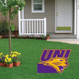 The front yard of a house with a University of Northern Iowa Yard Sign