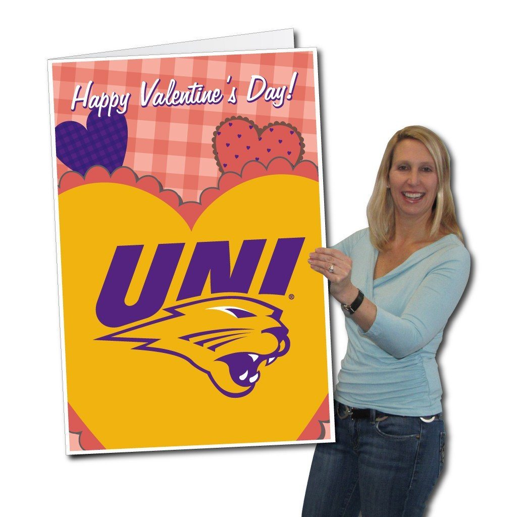 University of Northern Iowa 2'x3' Giant Valentines Greeting Card Plus a Bonus Yard Sign! - FREE SHIPPING