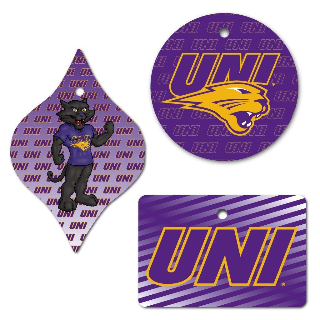 University of Northern Iowa Ornament - Set of 3; Circle, Rectangle and Tapered