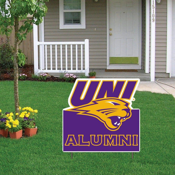 "University of Northern Iowa Alumni Shaped Plastic Yard Sign "" w/ 2 E-Z"