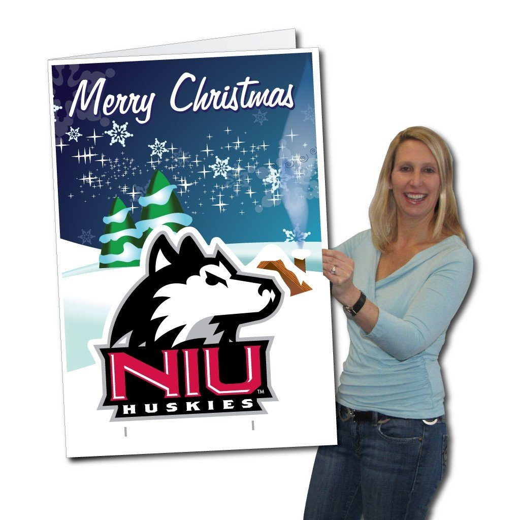 A giant Northern Illinois University Christmas greeting card