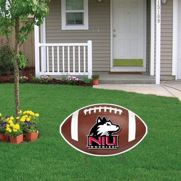 "Northern Illinois University Football Shaped Plastic Yard Sign ""with 2"