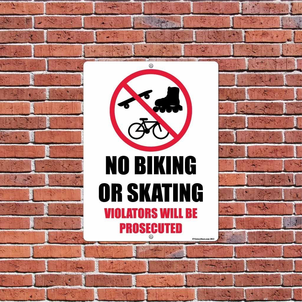 No Biking or Skating Sign or Sticker