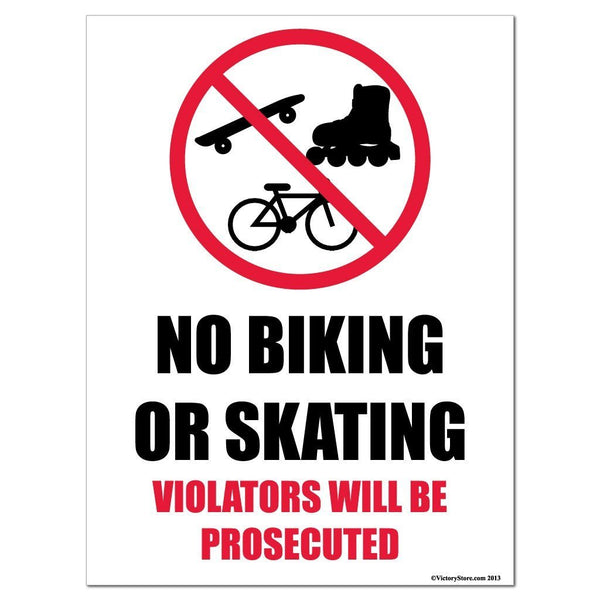 No Biking or Skating Sign or Sticker - #14