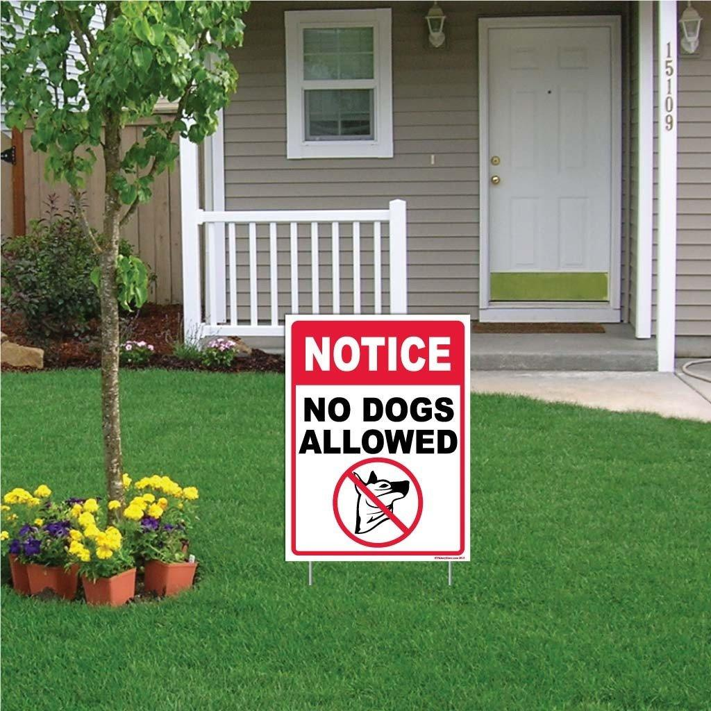 "A yard sign that says ""No Dogs Allowed"""