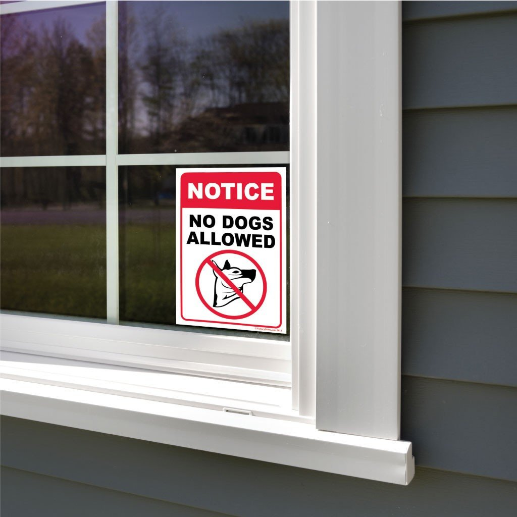 A no dogs allowed sign attached to a window