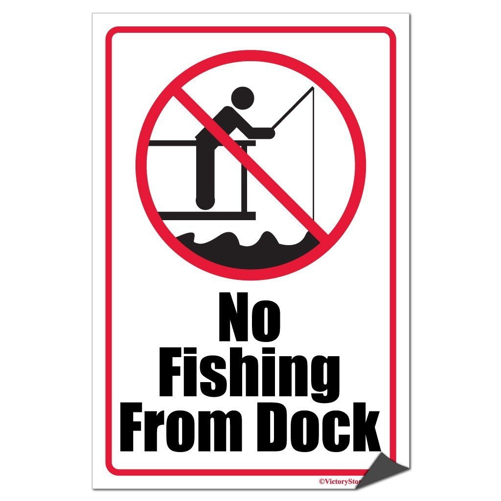 No Fishing From Dock Sign or Sticker - #1