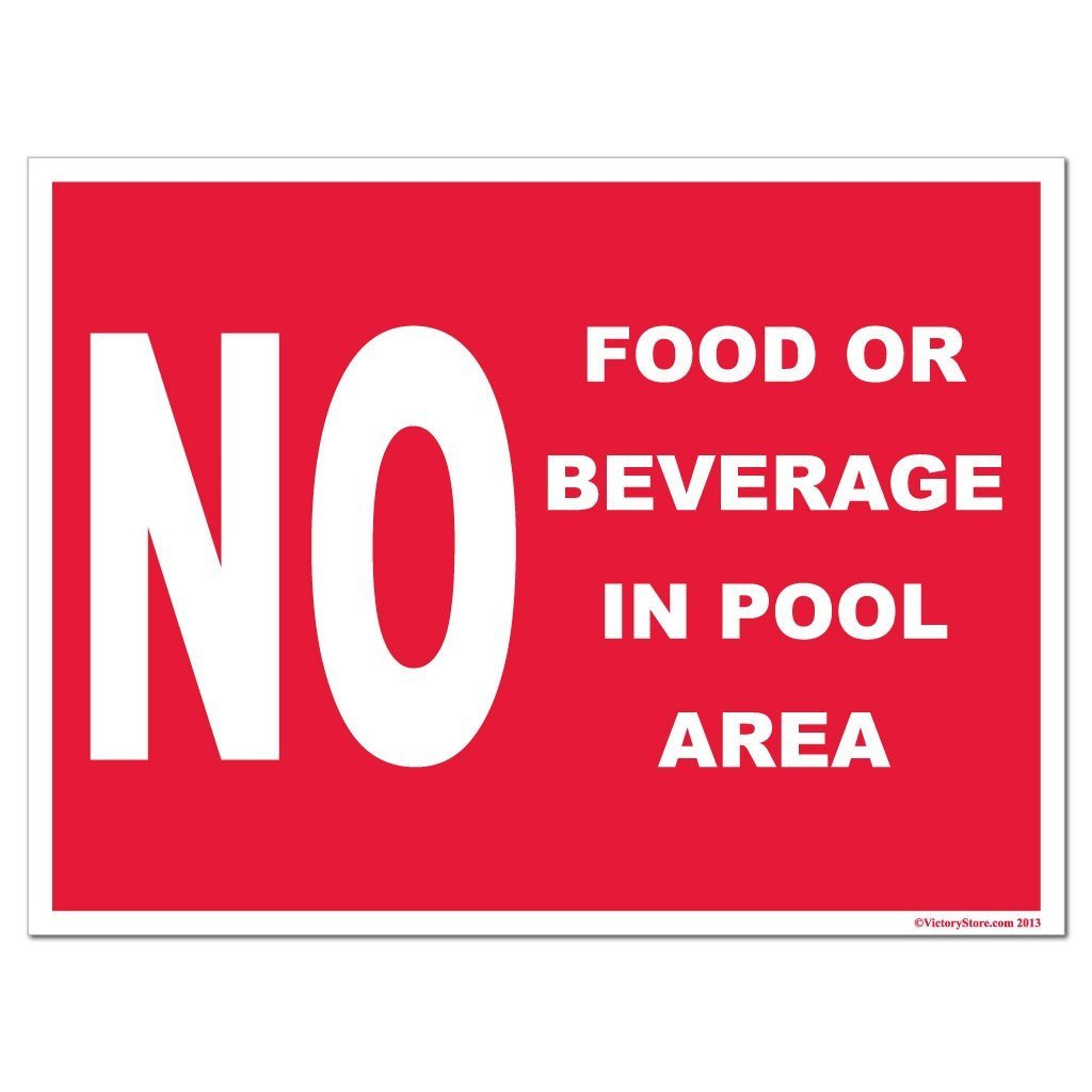 No Food or Beverage in Pool Area Sign or Sticker - #9