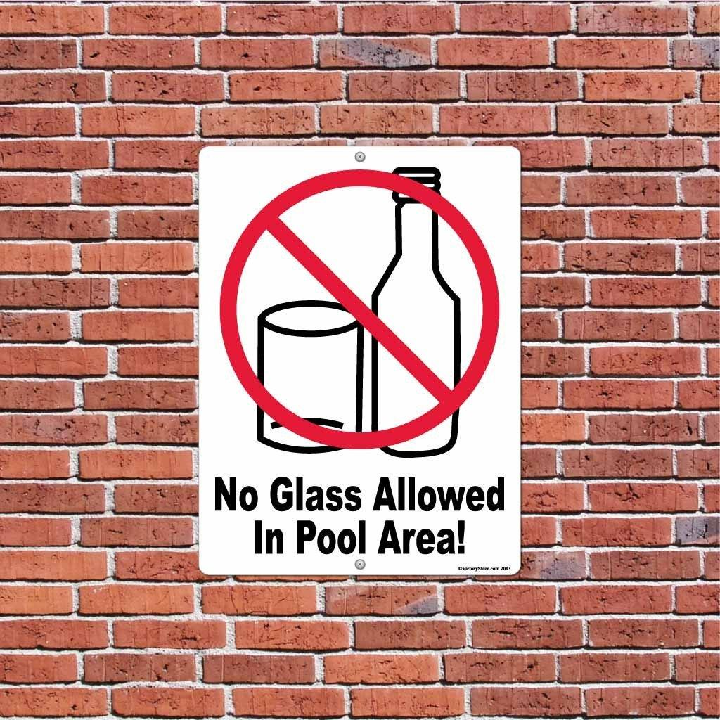 No Glass Allowed in Pool Area Sign or Sticker - #2
