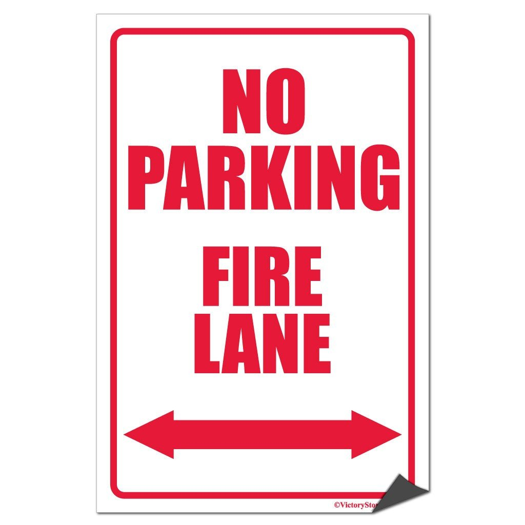 "A ""no parking fire lane"" sticker"