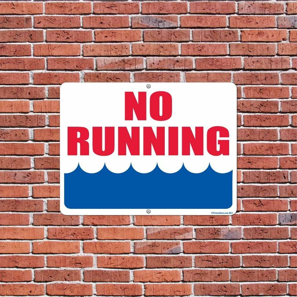 "No Running by Water 18""x24"" Aluminum Sign"