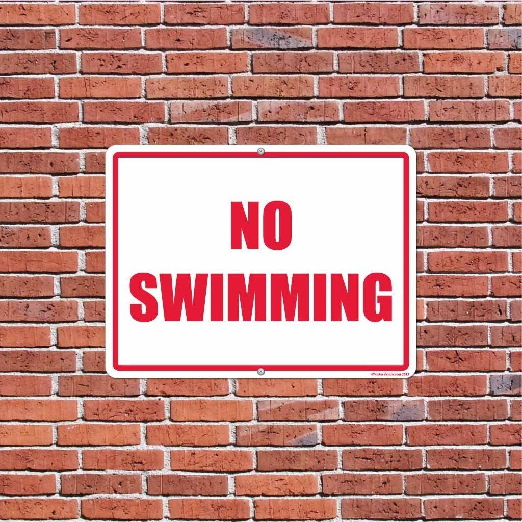 No Swimming Horizontal Sign or Sticker - #7