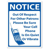 "Notice "" Cell Phone on Quiet or Vibrate Sign or Sticker - #15"