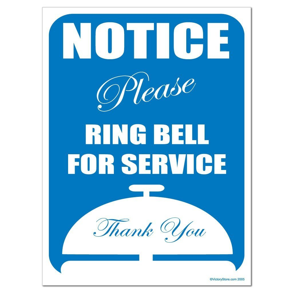 "Notice "" Please Ring Bell for Service "" Thank You Sign or Sticker - #2"