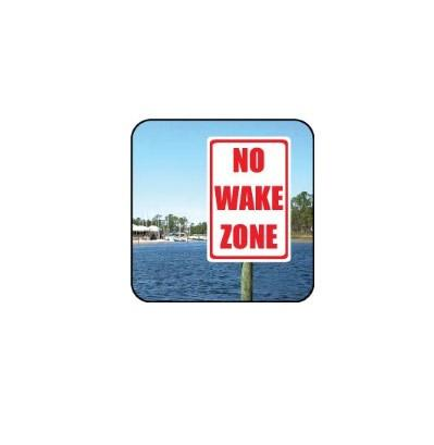 "A aluminum sign that says ""No wake zone"""