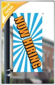 "18""x36"" Now Hiring Pole Banner FREE SHIPPING"