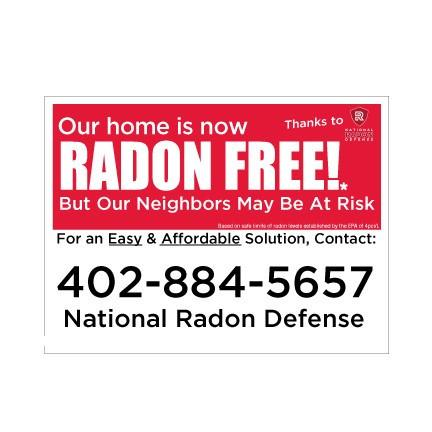National Radon Defense 18x24 Sign 2 sided with EZ Stakes- Radon Free
