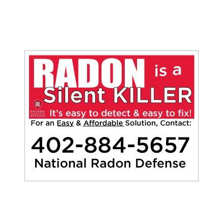 National Radon Defense 18x24 Sign 2 sided with EZ Stakes - Silent