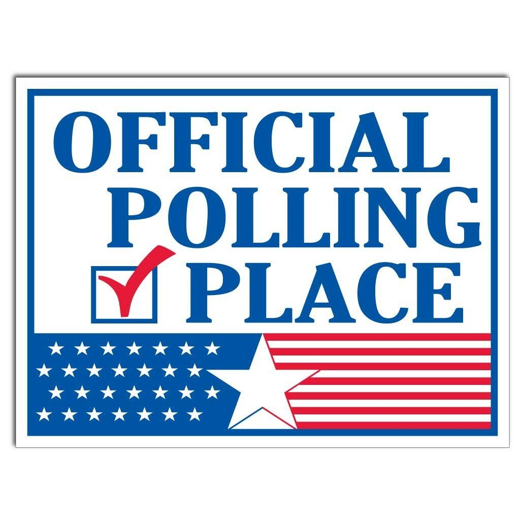 "Official Polling Place Sign - 18""x24"" Corrugated Plastic with EZ"