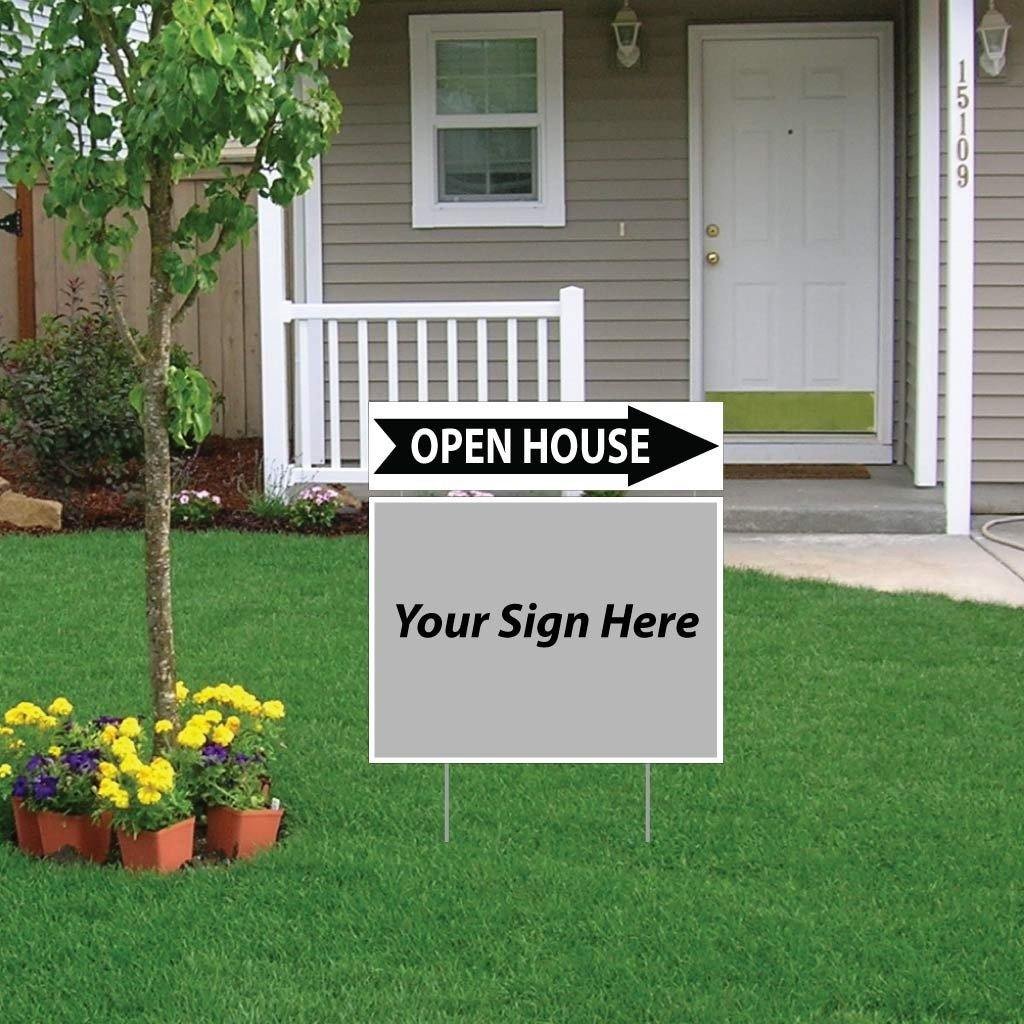 Open House with Arrow Real Estate Yard Sign Rider Set - FREE SHIPPING