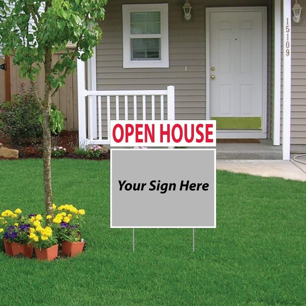 "A yard sign topper that says ""Open House"""