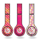 "Orange and Pink Skins for Beats Solo HD Headphones "" Set of 3 Patterns"
