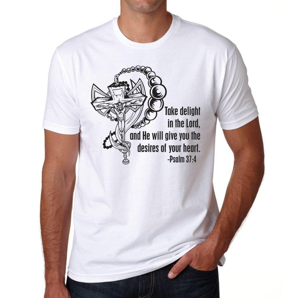 "Religious Themed "" Psalm 37:4 "" White T-Shirt"