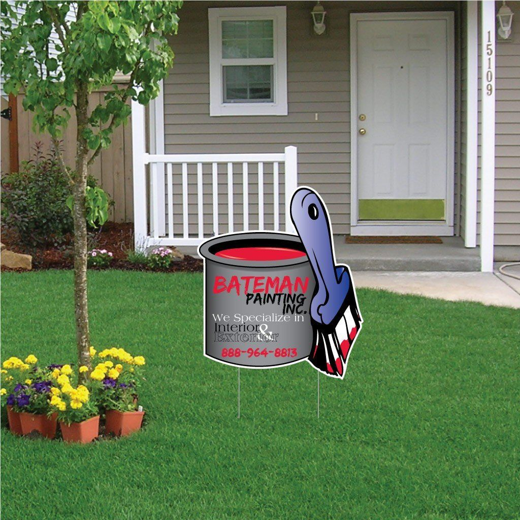 "Paint Can Shaped Yard Sign 18""x21"" Corrugated Plastic"