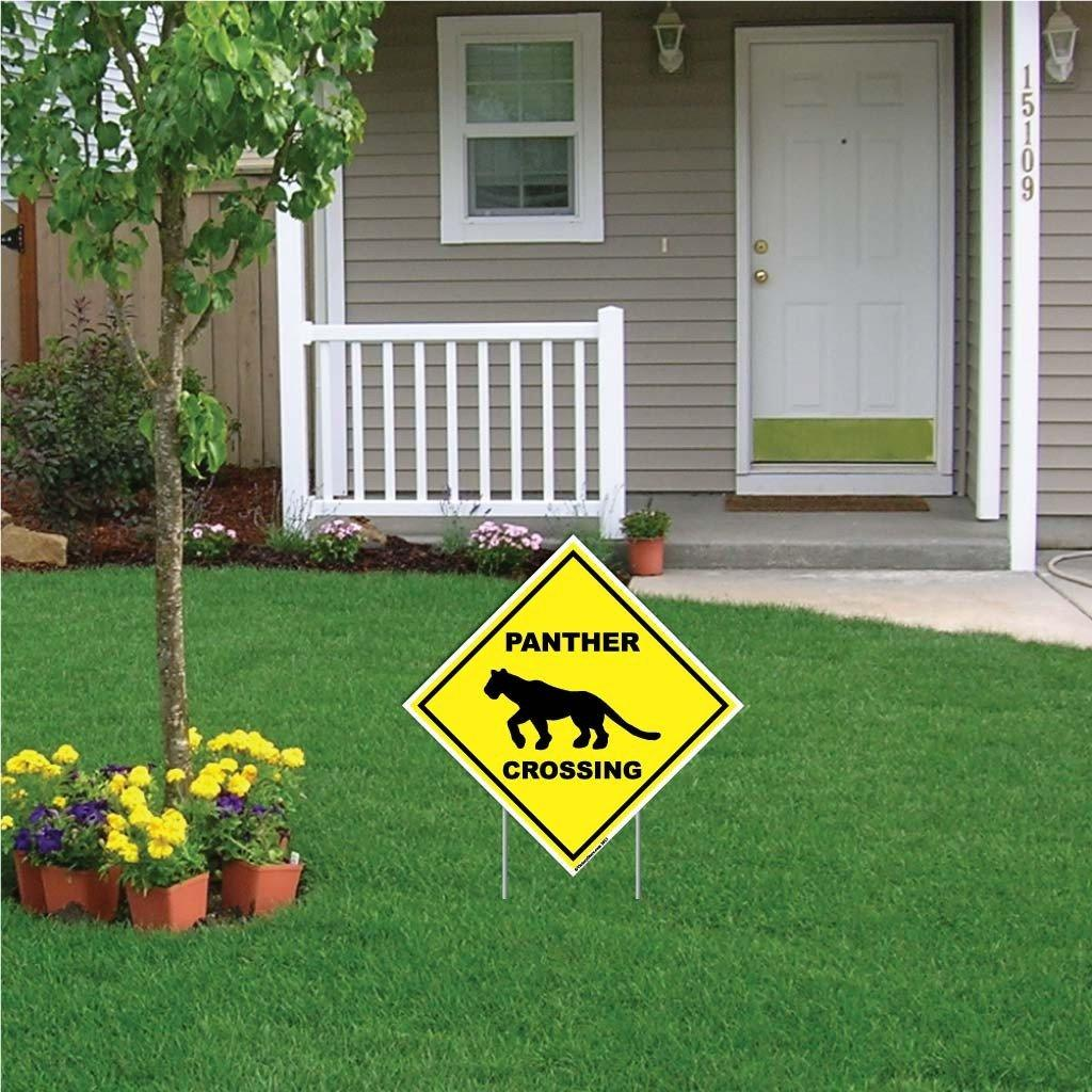 "A yard sign that says ""Panther Crossing"""