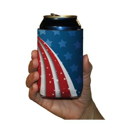 USA Patriotic American Can Cooler Set - 6 designs - Set of 6 - FREE SHIPPING