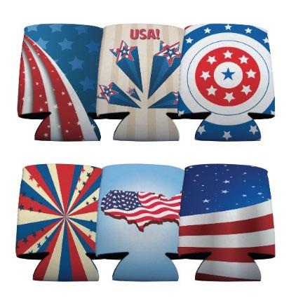 USA Patriotic American Can Cooler Set -6 designs- Set of 6 - FREE