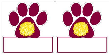 Paw Print with Rectangle EPS File