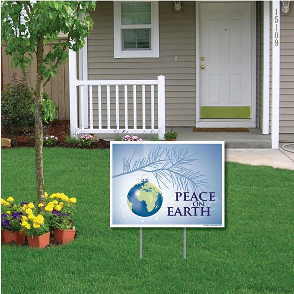 "Peace On Earth Christmas Lawn Display - 18""x24"" Yard Sign Decoration"