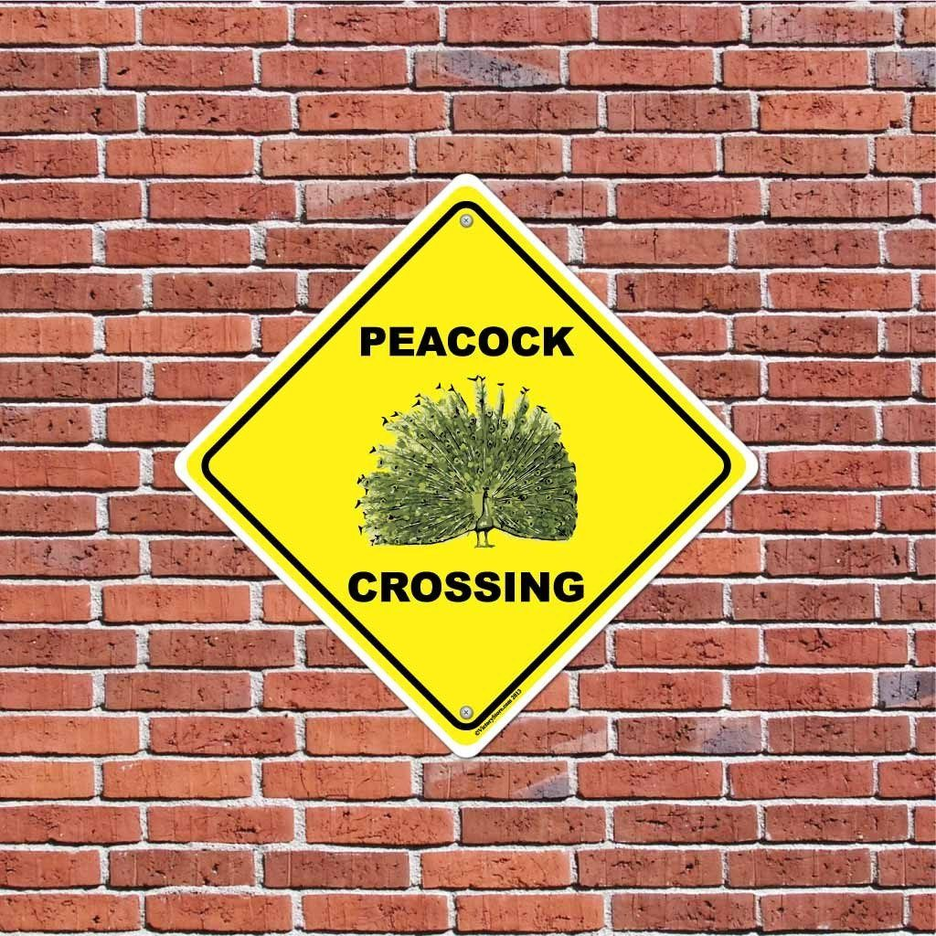 Peacock Crossing Sign or Sticker