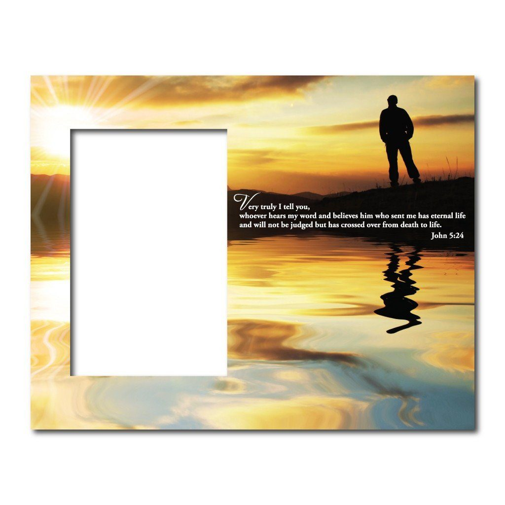 John 5:24 Decorative Picture Frame - Holds 4x6 Photo
