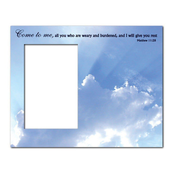 Matthew 11:28 Decorative Picture Frame - Holds 4x6 Photo