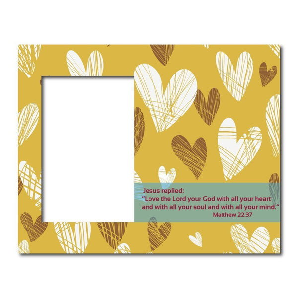 Matthew 22:37 Decorative Picture Frame - Holds 4x6 Photo