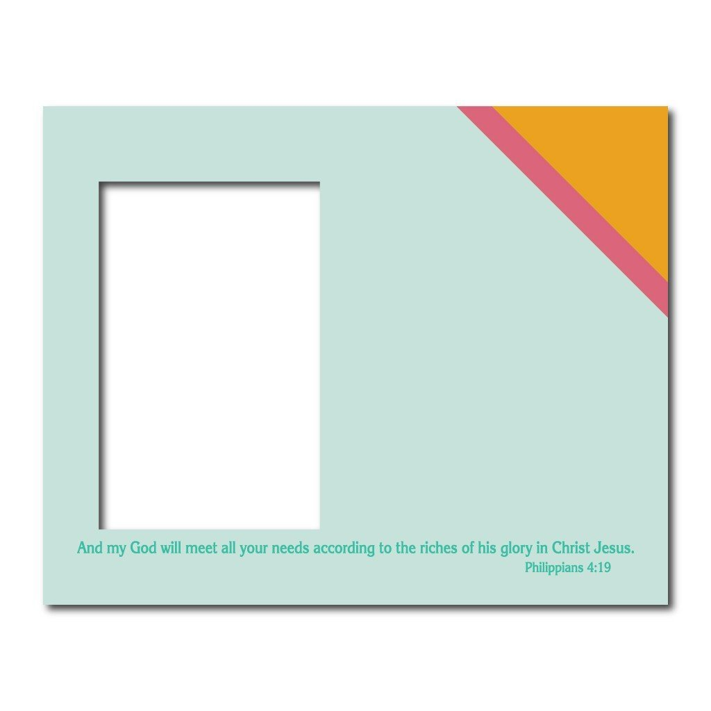 Philippians 4:19 Decorative Picture Frame - Holds 4x6 Photo