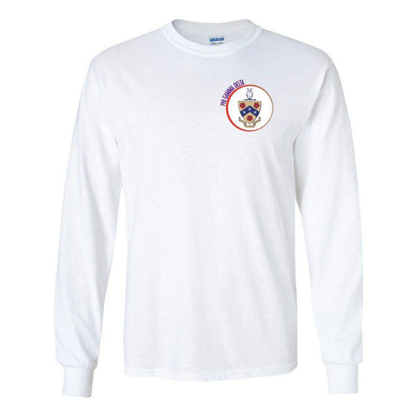 Phi Gamma Delta Long Sleeve T-shirt Coat of Arms Design - White &