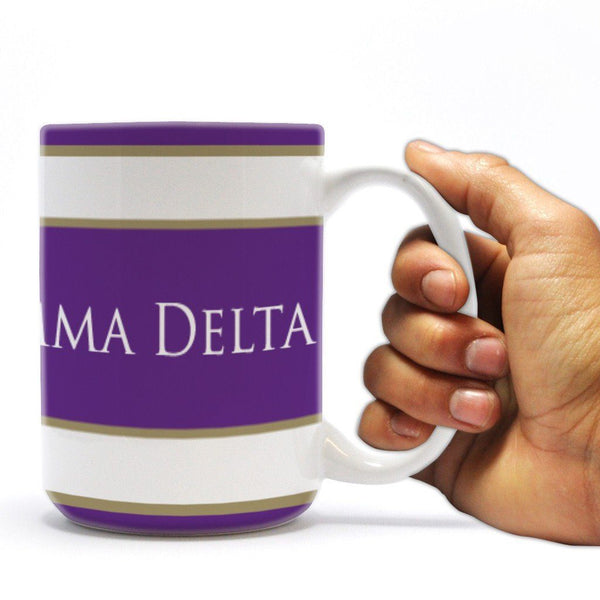 Phi Gamma Delta 15oz Coffee Mug Coat of Arms and Stripes Design