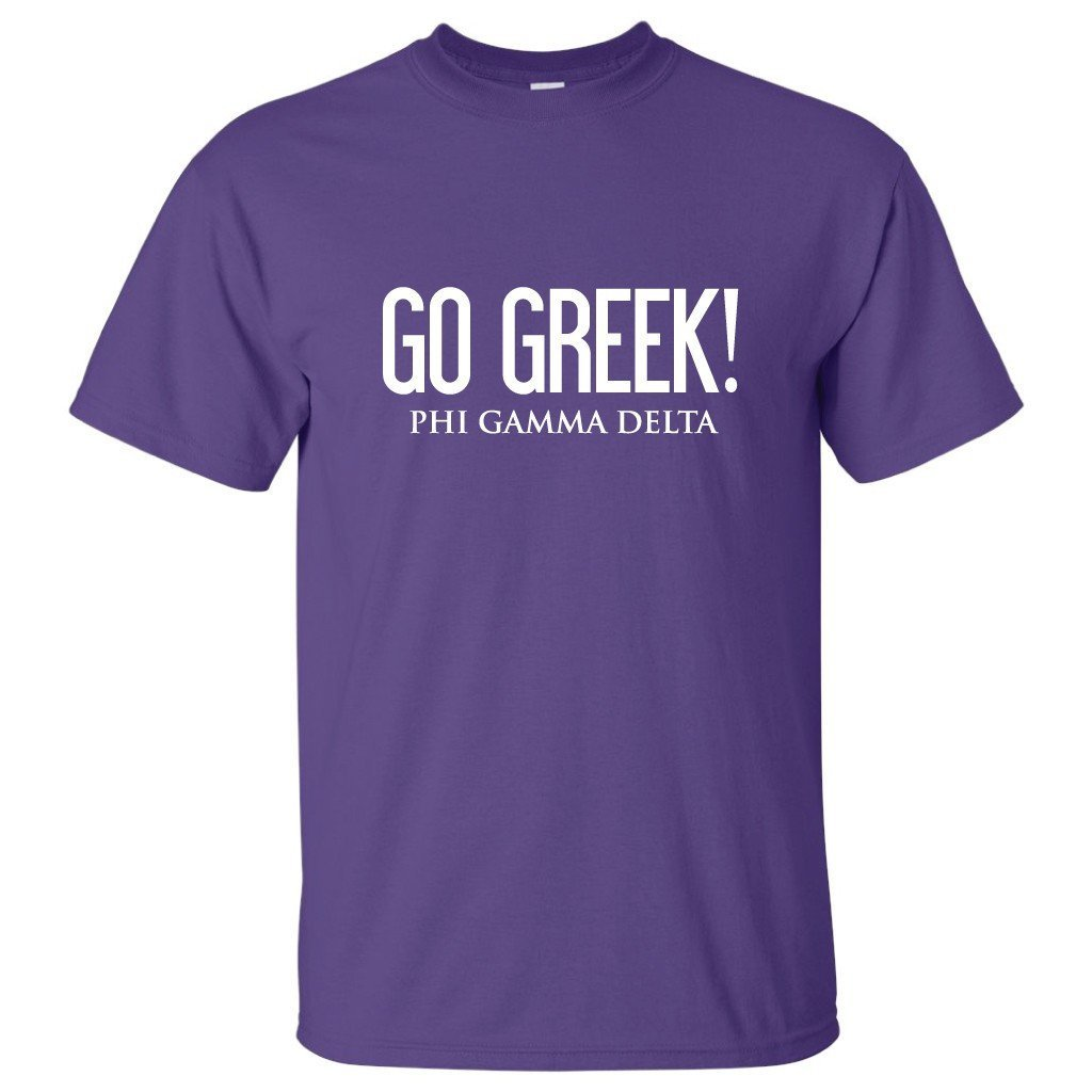 "Phi Gamma Delta ""Go Greek"" Standard T-shirt "" White, Purple, & Sport"